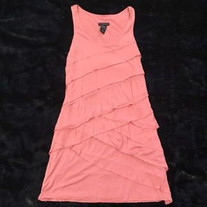 Pink casual tiered ruffle dress